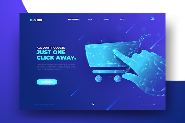 Futuristisch design winkelen online homepage Gratis Vector