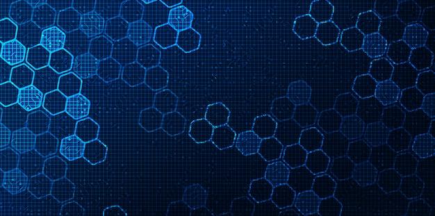 Futuristisch digitaal circuitnetwerk op blauwe achtergrond, toekomst en snelheidstechnologie conceptontwerp, illustratie Premium Vector