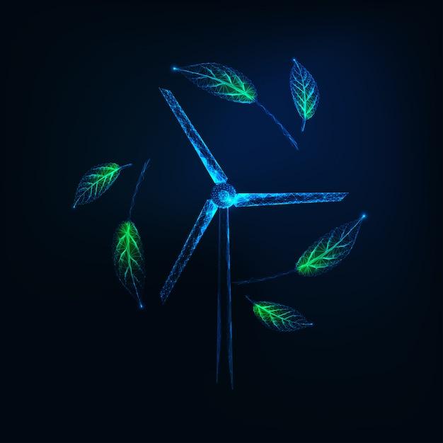 Futuristisch duurzaam energiesymbool met gloeiende laag polywindturbogenerator en groene bladeren Premium Vector