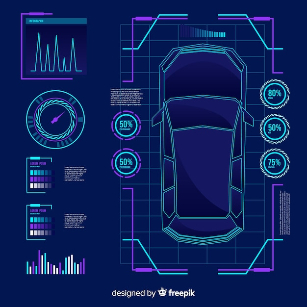 Futuristisch hologram van een auto Gratis Vector