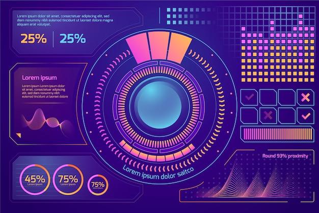 Futuristisch infographics sjabloonontwerp Gratis Vector