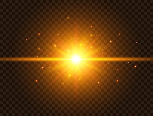 Futuristisch licht op transparante achtergrond. gouden ster barsten met stralen en fonkelingen. zonflits met stralen en schijnwerper. gloeiend effect. kleurrijke lens flare. explosie ster. Premium Vector
