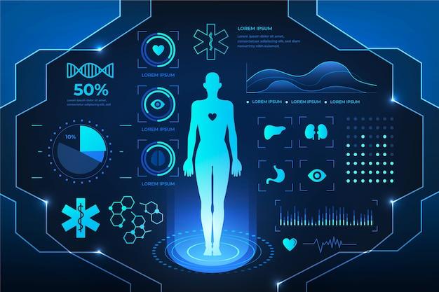 Futuristisch medisch infographic ontwerp Gratis Vector