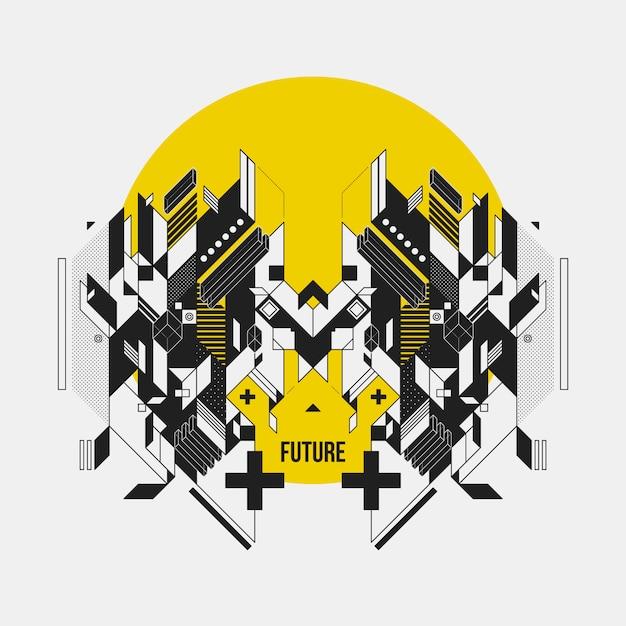 Futuristisch ontwerp op gele cirkel Gratis Vector