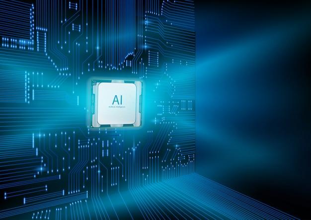 Futuristisch ontwerp van een kunstmatige intelligentiechip met printplaat. Premium Vector
