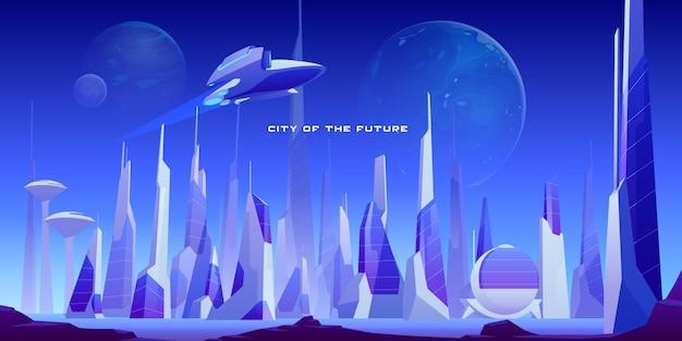 Futuristisch stedelijk landschap van stad en ruimteschip Gratis Vector