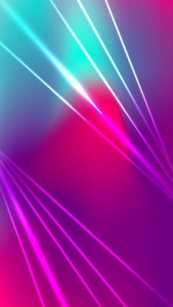 Futuristisch wazig mobiel behang met neonlichtvormen Gratis Vector
