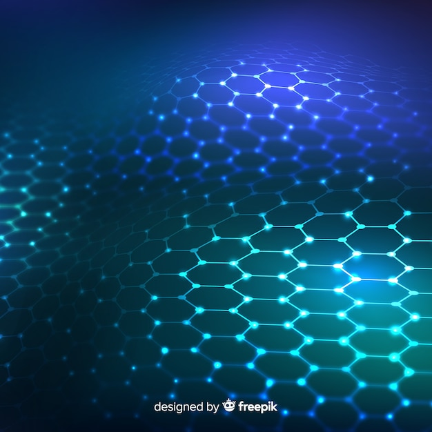Futuristisch zeshoekig net op gradiënt blauwe achtergrond Gratis Vector