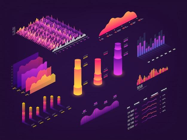 Futuristische 3d isometrische grafische gegevens, zakelijke grafieken, statistiekdiagram en infographic elementen Premium Vector
