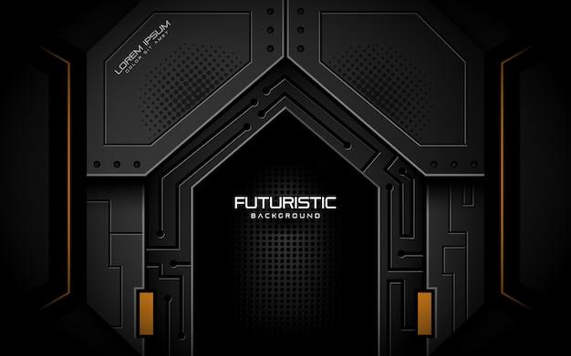 Futuristische achtergrond in donkere stijl Premium Vector