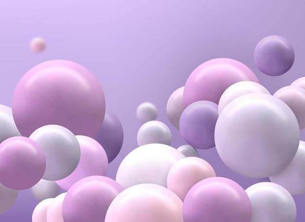 Futuristische achtergrond met kleurrijke 3d bollen, glanzende bubbels, ballen. Premium Vector