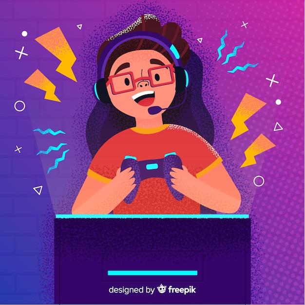 Futuristische achtergrond van een computer gamer Gratis Vector