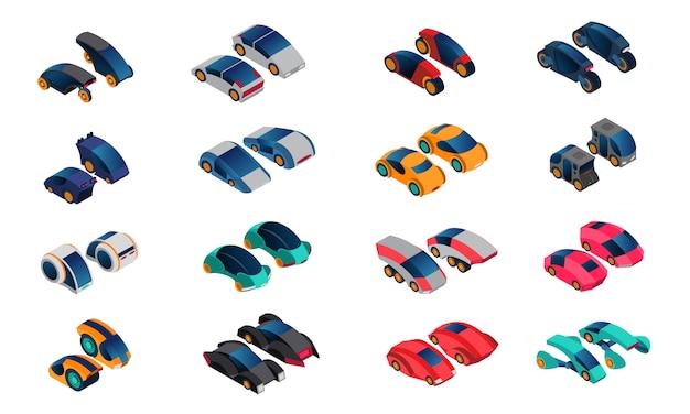 Futuristische auto's isometrische icons set Gratis Vector