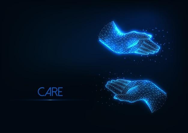 Futuristische bescherming, zorgzaam concept met gloeiende lage veelhoekige omhelzende menselijke handen geïsoleerd op donkerblauwe achtergrond. modern draadframe mesh-ontwerp Premium Vector