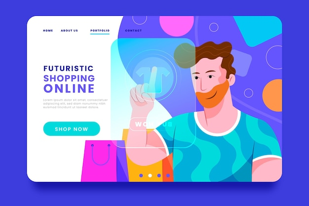 Futuristische bestemmingspagina voor digitaal winkelen Gratis Vector