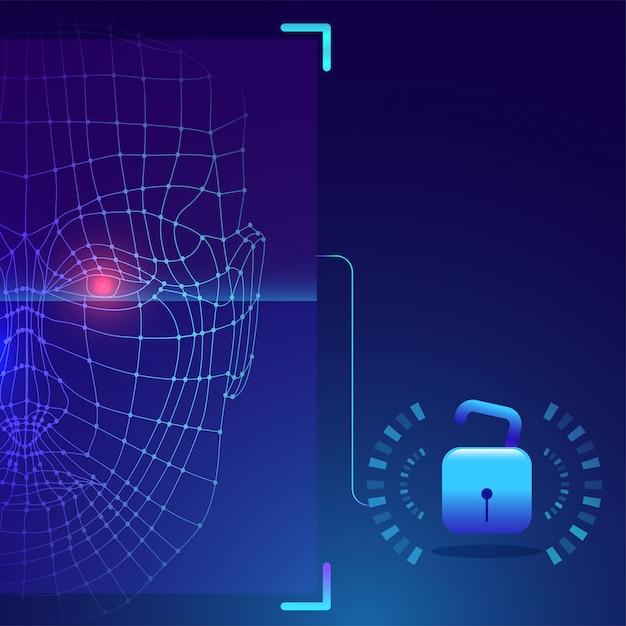 Futuristische biometrische technologie Premium Vector