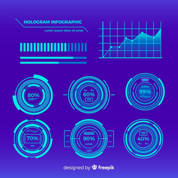 Futuristische collectie van het hologram infographic element Gratis Vector