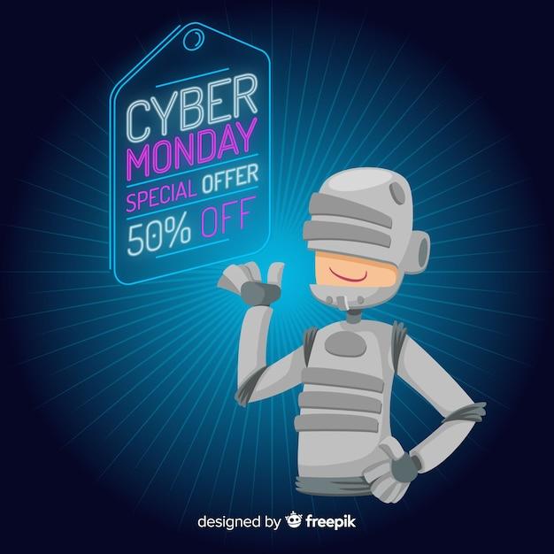 Futuristische cyber maandag verkoop achtergrond met schattige karakter Gratis Vector