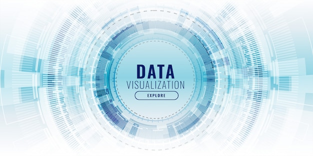 Futuristische data visualisatie technologie concept banner Gratis Vector