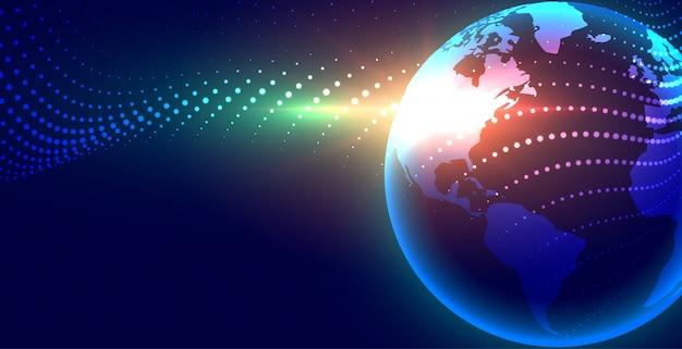 Futuristische digitale aarde globalisering achtergrond Gratis Vector