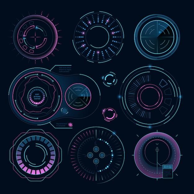 Futuristische digitale afbeeldingen, hud radiale vormen voor webinterface Premium Vector