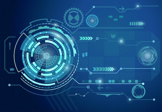 Futuristische digitale blauwe achtergrond Premium Vector
