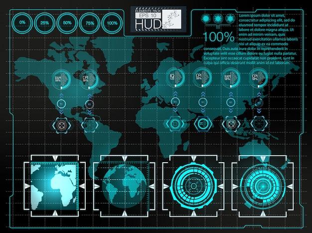 Futuristische gebruikersinterface. hud achtergrondkosmische ruimte. infographic elementen. Premium Vector