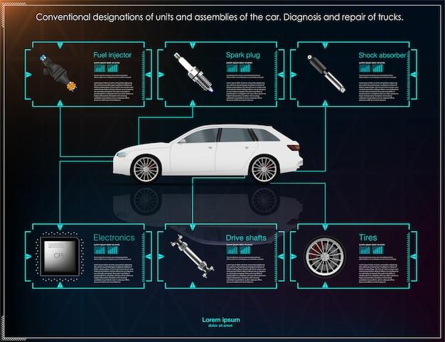 Futuristische gebruikersinterface. hud ui. abstracte virtuele grafische aanrakingsgebruikersinterface. auto's inf Premium Vector