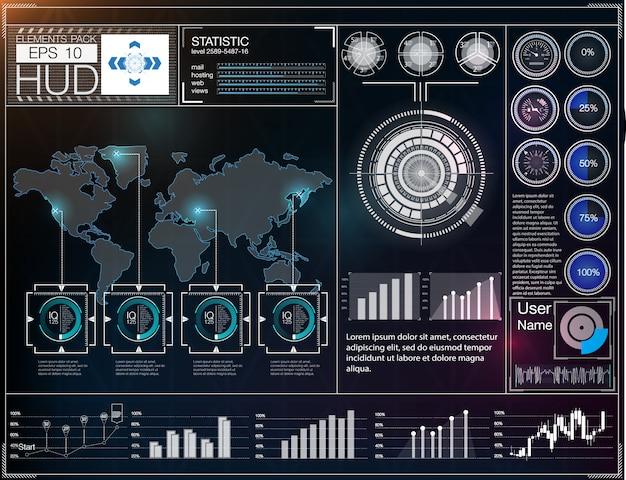 Futuristische gebruikersinterface. hud ui. abstracte virtuele grafische touch gebruikersinterface. Premium Vector