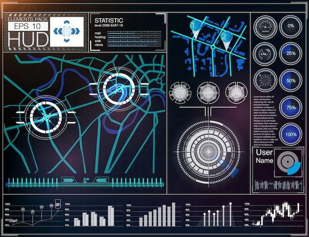 Futuristische gebruikersinterface. hud ui. Premium Vector