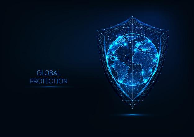 Futuristische gloeiende laag veelhoekige schild en planeet aarde globe kaart geïsoleerd op donkerblauwe achtergrond. Premium Vector