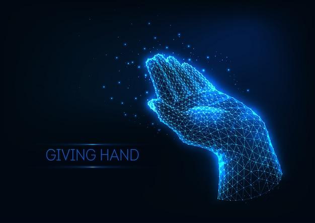 Futuristische gloeiende lage veelhoekige geven menselijke hand gemaakt van lijnen, sterren, lichte deeltjes. Premium Vector