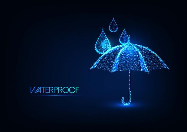 Futuristische gloeiende lage veelhoekige paraplu en waterdruppels. waterdichting. Premium Vector