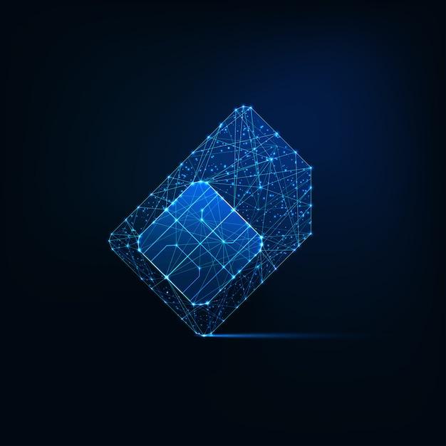 Futuristische gloeiende lage veelhoekige simkaart gemaakt van lijnen, lichte deeltjes op donkerblauwe achtergrond. Premium Vector