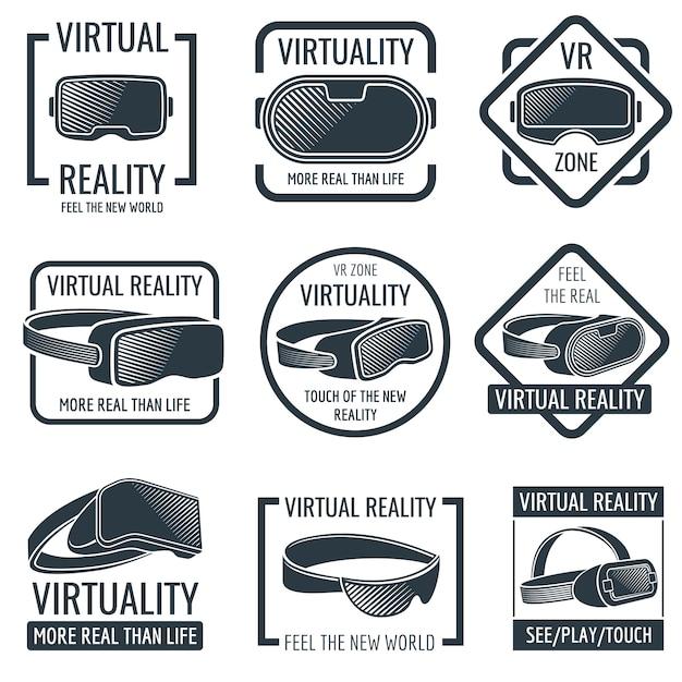 Futuristische helm headset logo's. vr-bril op het hoofd gemonteerde display vector labels Premium Vector