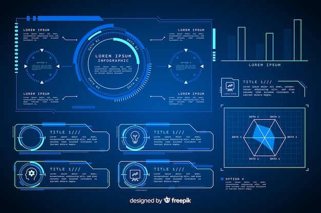 Futuristische holografische infographic elementeninzameling Gratis Vector