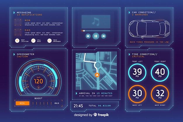 Futuristische holografische interface van een auto Gratis Vector