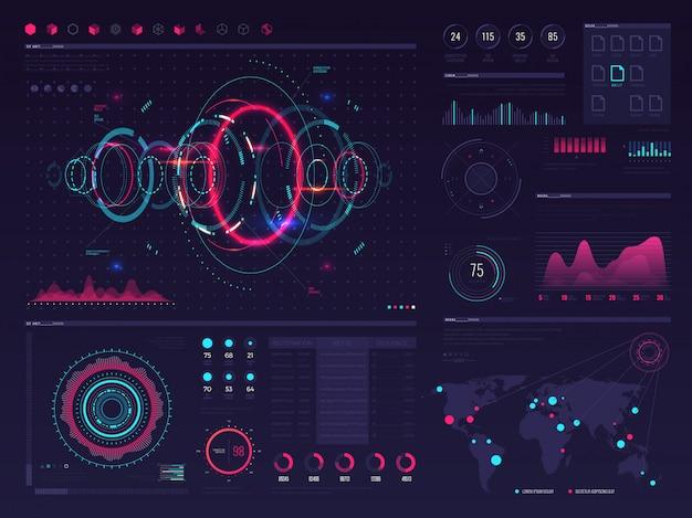 Futuristische hud digitale touchscreen weergave met grafische grafische beelden, panelen en grafiek vector infographic sjabloon. illustratie van grafiekgegevens en digitale weergave, interface toekomstig visueel paneel Premium Vector