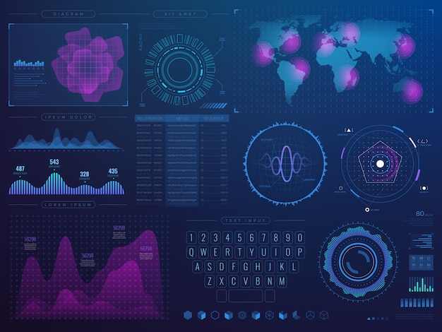 Futuristische hud interface. science future tech vector ui met infographic elementen Premium Vector