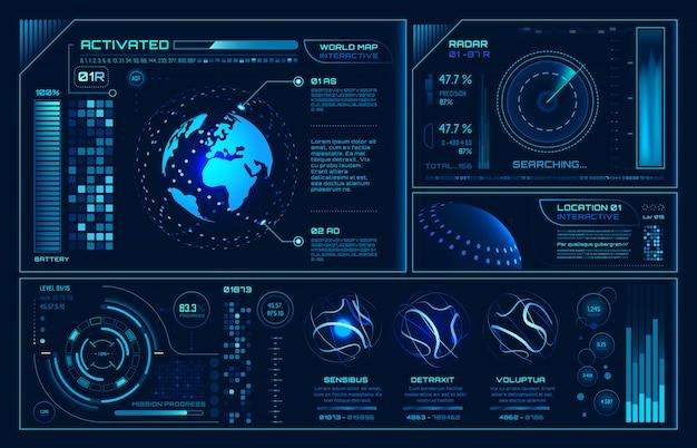 Futuristische hud-interface, toekomstige hologram ui infographic, interactieve globe en cyber sky fi schermachtergrond Premium Vector