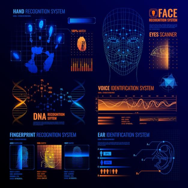 Futuristische identificatie interfaces achtergrond Gratis Vector