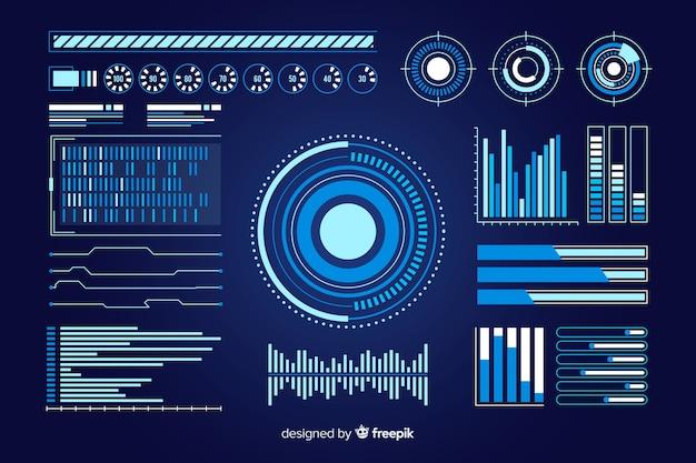 Futuristische infographic elementenverzameling Gratis Vector