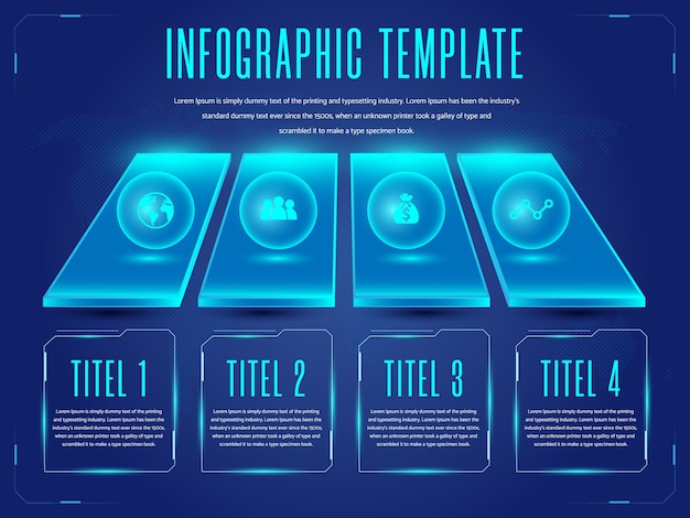 Futuristische infographics sjabloon achtergrond Premium Vector