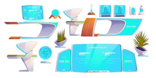 Futuristische klas spullen set. moderne benodigdheden Gratis Vector