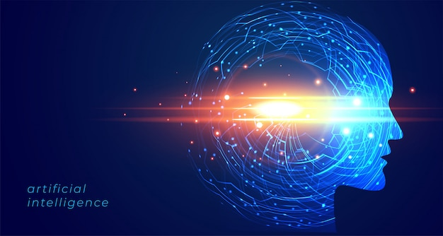 Futuristische kunstmatige intelligentie gezichtstechnologieachtergrond Gratis Vector