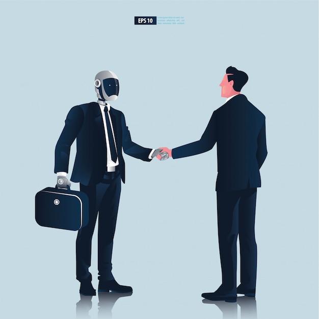 Futuristische mensen uit het bedrijfsleven met kunstmatige intelligentie technologieconcept. zakenman en robot hand schok onderhandeling illustratie Premium Vector
