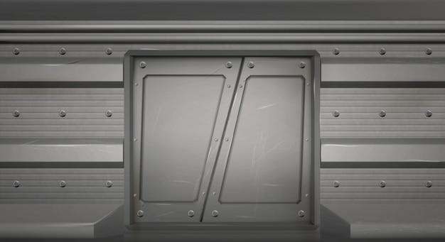 Futuristische metalen schuifdeuren in ruimteschip Gratis Vector