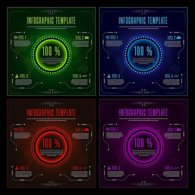 Futuristische multi gekleurde infographics sjabloon achtergrond Premium Vector
