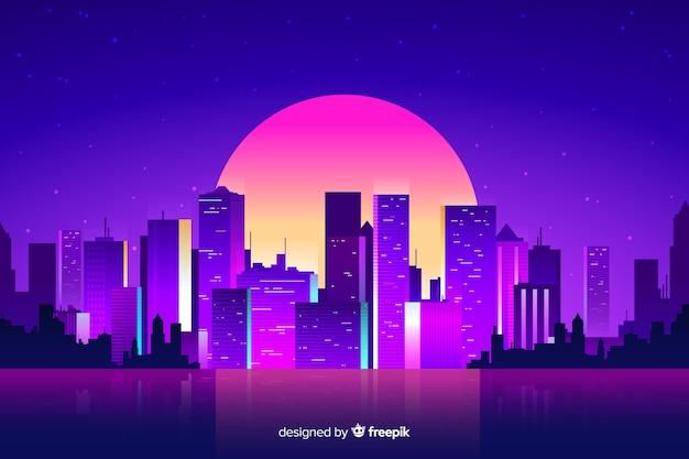 Futuristische nacht stad achtergrond Gratis Vector