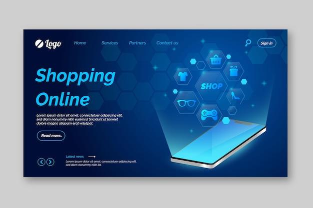 Futuristische online bestemmingspagina voor winkelen Gratis Vector